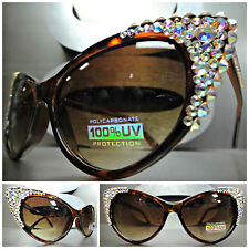 CLASSIC VINTAGE 60s CAT EYE Style BLING SUN GLASSES Iridescent Crystals Handmade