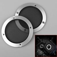 """2pcs 4"""" inch Silver Audio Speaker Cover Decorative Circle Metal Mesh Grille"""