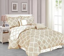 Galaxy 7-Piece Comforter Set Reversible Soft Oversized Bedding White & Taupe