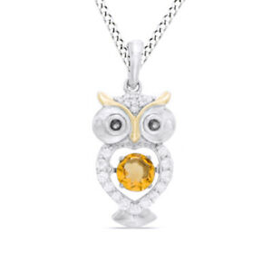 Dancing Natural Diamond Citrine & White Sapphire Owl Pendant Sterling Silver