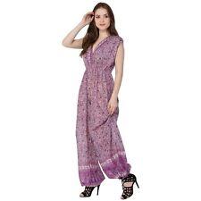 JAIPUR india karni cotton printed purple flower women's jump suit sleeveless