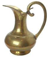 Beautiful Vintage Brass Ewer Urn Pitcher Patina Solid Handle 7 3/4""