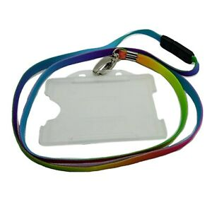 Stylish Multi-Colour Pattern Neck Lanyard With Metal Clip Clasp + ID Card Holder