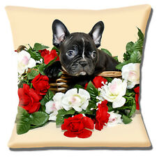 "NEW CUTE FRENCH BULLDOG PUPPY PHOTO BRINDLE BLACK WHITE 16"" Pillow Cushion Cover"