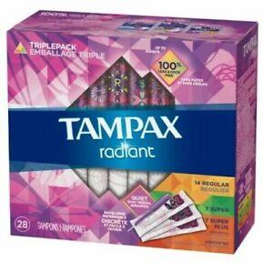Tampax Radiant Triple Pack (3 sizes) 28ct (14 Regular, 7 Super & 7 Super Plus)
