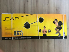 CAP 100 Lb Vinyl Weight Set Barbell 1 Inch Standard Plate - Brand New