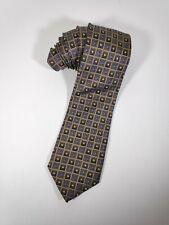 Peacock Handmade 100% Pure Silk Blue Yellow Gold Geometric Designer Mens Tie