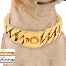 Gold Dog Choke Chain Collar Heavy Duty Strong Metal Training Choker Rottweiler
