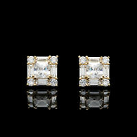 1.50CT Princess Baguette Round Cluster Studs Earrings 14K Solid Yellow Gold VVS1
