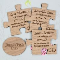 Wooden Jigsaw Piece Save The Date Personalised Wedding Invite Magnets Rustic