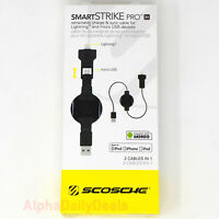 SCOSCHE Smart Strike PRO Retractable 2-IN-1 Apple Lightning - Micro USB Cable