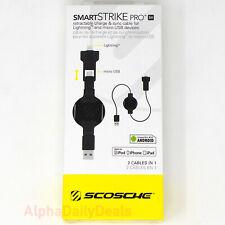 SCOSCHE Smart Strike PRO Retractable 2-IN-1 Apple Lightning - Micro USB Cable