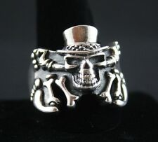 Sterling Silver .925 Skull With Tophat and Bones Ring Sizes 9 & 14.5