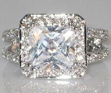 Engagement Bridal Wedding Ring - Size 5 Vogue Halo Dual Band Princess Cut Cz