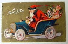 Vintage Christmas Postcard Santa Claus Driving Old Car Full Of Toys Gold #11hh77