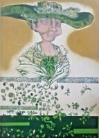 Lithography by Juan Pablo Villar Aleman. Figura Verde, 1971. Signed. Original