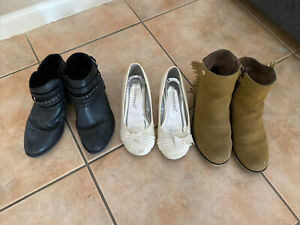 Size 2 3 Pairs Of Shoes Various Brands All Worn, But Good & Clean