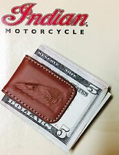 INDIAN MOTORCYCLE 'WARBONNET' MONEY CLIP ~ BROWN LEATHER ~ SHIPS FREE!