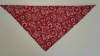 Dog Bandana Tie On/Slide On Country Western Red Custom Made by Linda XS S M L