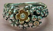 PANDORA   14k Gold Silver Flower Bouquet Diamond Ring 190245D RARE 925 Ale