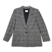 Pendleton Vtg 2 Piece Wool Skirt Suit Sz 12 Black Gray Houndstooth 1 Btn Blazer