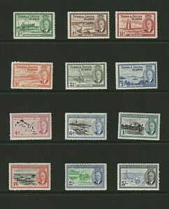 Turks & Caicos: 1950, King George VI definitive, short set to 5/- MLH