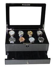 Luxury high gloss carbon fiber watch box for men wooden storage case organiser