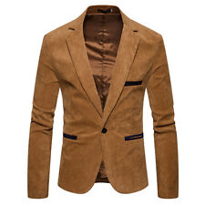 Casual Men Corduroy Patchwork Fashion Jacket - Khaki