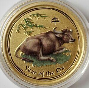 2009 P Australia $15 1/10oz Gold Year of the Ox Commemorative COLORIZED