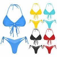 Women's Bikini Set Push-Up Bra Swimwear Mini Pleated Strappy Beachwear Swimsuit