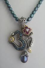 NEW! Barbara Bixby Sterling Silver 18K Topaz Garnet Pearl OM Enhancer Pendant!