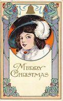 Merry Christmas Postcard Victorian Art Nouveau Child Gold Bell~127188
