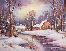 Wm Thompson Cabin Bridge Stream Winter