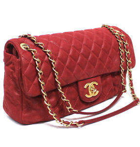 CHANEL Quilted Gathered Leather Single Flap Chain Shoulder Bag Red #51831