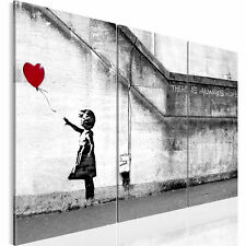 Imagen lienzo graffiti There is Always Hope Banksy negro blanco 3 PCS. a XXL 120 X 80 cm