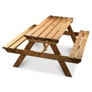 Wooden Agad Picnic Bench 6 Person 5.6ft Garden Seat Outdoor Park BBQ Pressure