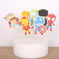 💥 8x Superhero LARGE Cake Toppers. Party Supplies Lolly Loot Bag Banner Flag