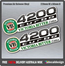Landcruiser 4200 Turbo Victoria Bitter VB Edition Stickers x 2 Decals for Toyota