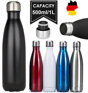 1L 500ml Edelstahl Trinkflasche Isolierflasche Wasserflasche Thermosflasche