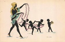 Artist Postcard Silhouette Nude Child Pixie Fairy Dancing with Woman~114067
