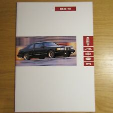 Lincoln Mark VII 5.0 V8 COUPE USA American Market brochure juillet 1991 pour 1992