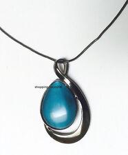 """Lia Sophia """"Deep Sea/Waterway"""" Glass Cat's Eye Teardrop Hematite Necklace"""
