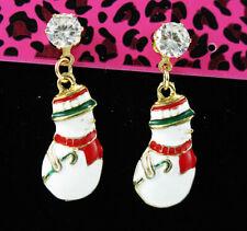 New Betsey Johnson Jewelry Lady's snowman Claus Clear Rhinestone Earring Fashion