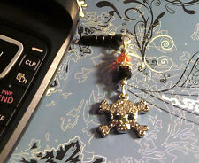 Rhinestone Skull Biker Cell Phone Charm~Dust Cover~Free Ship