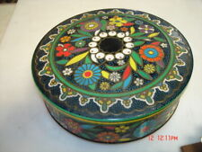 VINTAGE MULTI COLORED FLORAL TIN MADE IN ENGLAND SEWING MISC