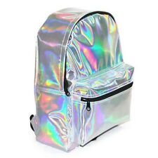 Casual Backpack for Women of Color Silver PU Leather School Bag Hand Backpack fo