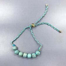 Turquoise Stone Beads Thread Gold Chain Braided Style Adjustable Bangle Bracelet