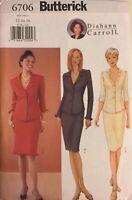 Butterick 6706 lined top & skirt Diahann Carroll easy pattern Sz 12 14 16
