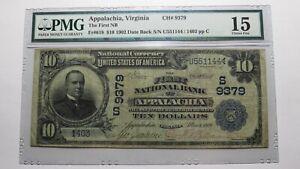 $10 1902 Appalachia Virginia VA National Currency Bank Note Bill Ch. #9379 F15