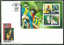 UGANDA 2014 PARROTS SHEET FIRST DAY COVER